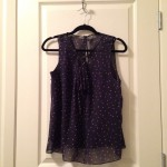 Navy patterned tank-top blouse