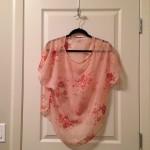 Floral kimono-sleeve blouse